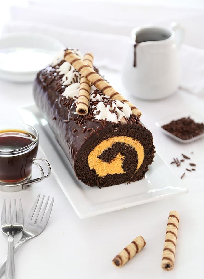 "<p> Everyone will burst with happiness eating this <a href=""http://www.sprinklebakes.com/2017/11/pumpkin-buttercream-swiss-roll.html"" target=""_blank"" class=""ga-track"" data-ga-category=""Related"" data-ga-label=""http://www.sprinklebakes.com/2017/11/pumpkin-buttercream-swiss-roll.html"" data-ga-action=""In-Line Links"">pumpkin buttercream Swiss roll</a>. The buttercream filling paired with the chocolate ganache on top is so good. </p>"