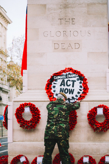 Donald Bell placed the wreath about climate change on the day that the war dead were remembered. (PA)