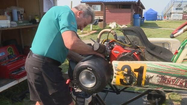 Denny Simon, a 78-year-old kart driver, says he competes in races for fun, rather than having something to prove. (Julie Debeljak/CBC - image credit)