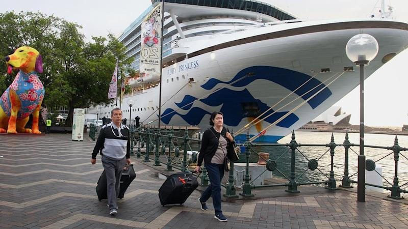 Passengers disembarking from an earlier Ruby Princess voyage in February in Sydney