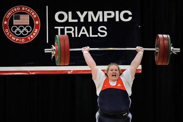 COLUMBUS, OH - MARCH 4: Holley Mangold successfully completes a 145 kilogram clean and jerk on her first attempt during the 2012 U.S. Olympic Team Trials for Women's Weightlifting on March 4, 2012 in Columbus, Ohio. (Photo by Jamie Sabau/Getty Images)