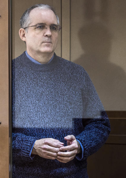 Paul Whelan, a former U.S. Marine, who was arrested in Moscow at the end of last year, attends a hearing in a court in Moscow, Russia, Thursday, March 14, 2019. The American was detained at the end of December for alleged spying. (AP Photo/Dmitry Serebryakov)