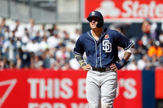"<a class=""link rapid-noclick-resp"" href=""/mlb/players/9111/"" data-ylk=""slk:Manny Machado"">Manny Machado</a> went 1-for-4 with a double and was booed by the home crowd in his return to The Bronx on Monday afternoon. (AP Photo/Michael Owens)"