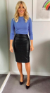 """<p>Holly teamed a baby blue knit with a midi leather skirt by <a rel=""""nofollow noopener"""" href=""""http://www.jigsaw-online.com/product/leather-pencil-skirt/J31072_BK000"""" target=""""_blank"""" data-ylk=""""slk:Jigsaw"""" class=""""link rapid-noclick-resp"""">Jigsaw</a> (which is still in stock) and the look certainly went down well on Instagram. </p>"""