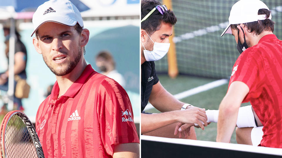 Dominic Thiem, pictured here after suffering a wrist injury in Mallorca.