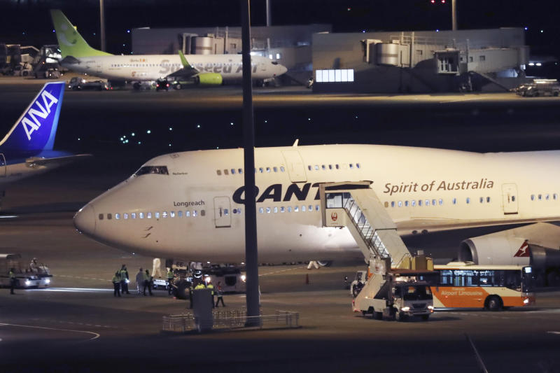 Qantas plane for Australian citizens evacuated from the cruise ship at Tokyo's Haneda airport in Tokyo on Wednesday. Source: AAP