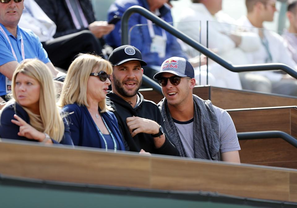 INDIAN WELLS, CA - MARCH 18: Los Angeles Rams quarerback Jared Goff and Jacksonville Jaguars quarterback Blake Bortles attend the finals of the BNP Paribas Open between Roger Federer and Juan Martin Del Potro on March 18, 2018, at the Indian Wells Tennis Gardens in Indian Wells, CA. (Photo by Adam  Davis/Icon Sportswire via Getty Images)