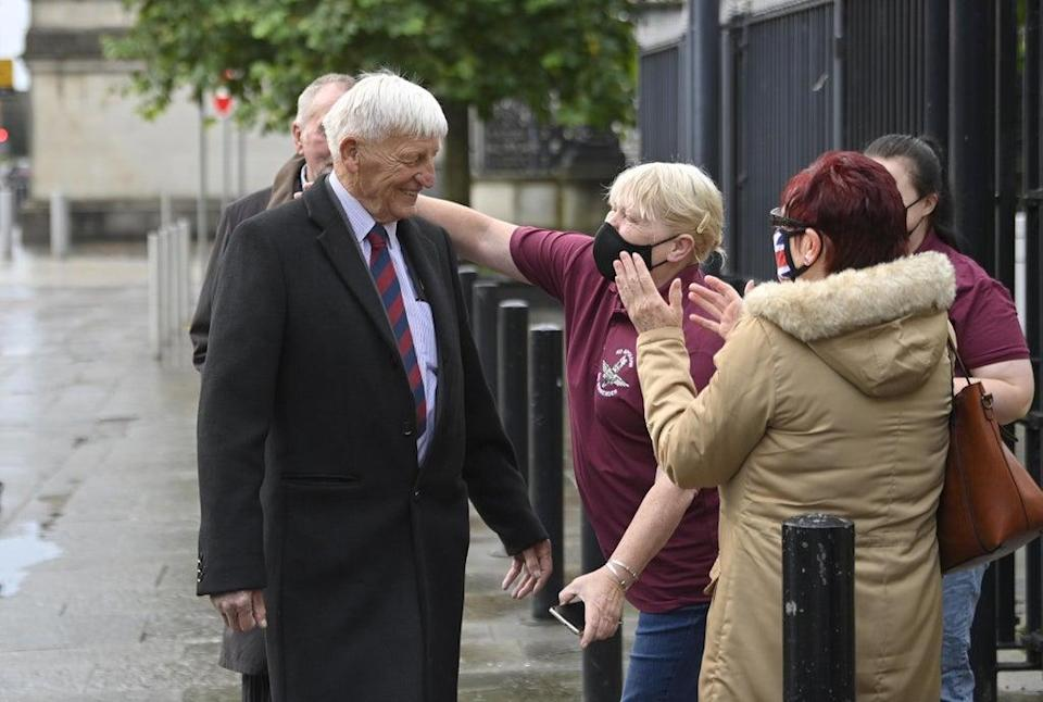 Dennis Hutchings, with supporters, arrives at Laganside Courts, Belfast (Mark Marlow/PA) (PA Wire)