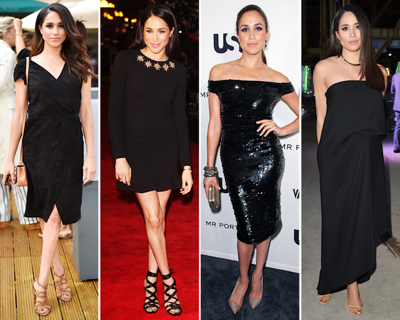 If one were to attempt to single out her sartorial go-to color when examining the range of Markle looks, it would be black. For formal and casual occasions alike, it seems to be her staple.