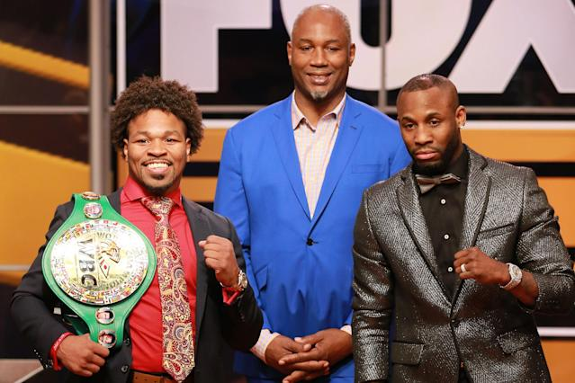 (L-R) Shawn Porter, Lennox Lewis and Yordenis Ugás attend a news conference on Nov. 13, 2018 in Los Angeles. (Getty Images)