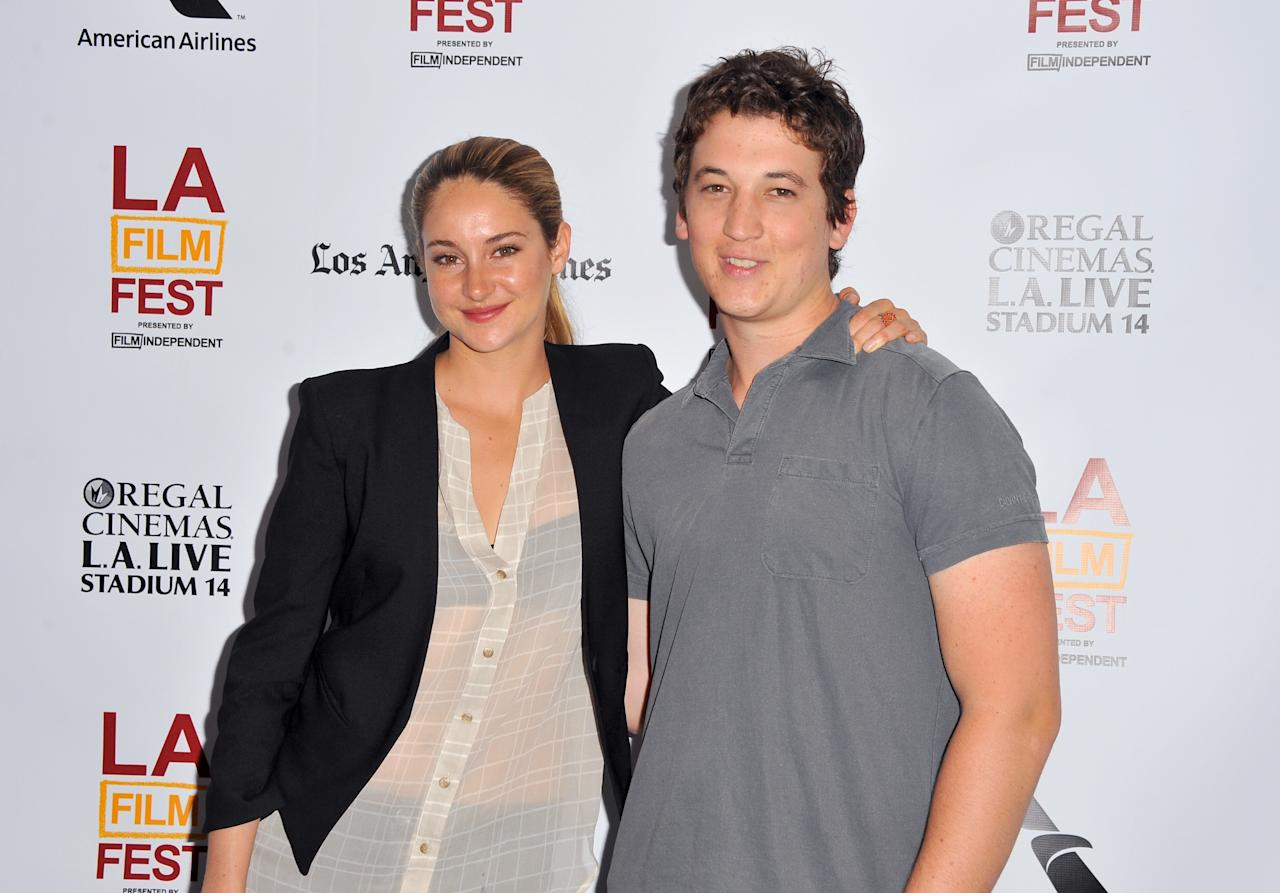 """LOS ANGELES, CA - JUNE 17: Actors Shailene Woodley (L) and Miles Teller arrive at the premiere of A24's """"The Spectacular Now"""" during the 2013 Los Angeles Film Festival at Regal Cinemas L.A. Live on June 17, 2013 in Los Angeles, California. (Photo by Angela Weiss/Getty Images)"""