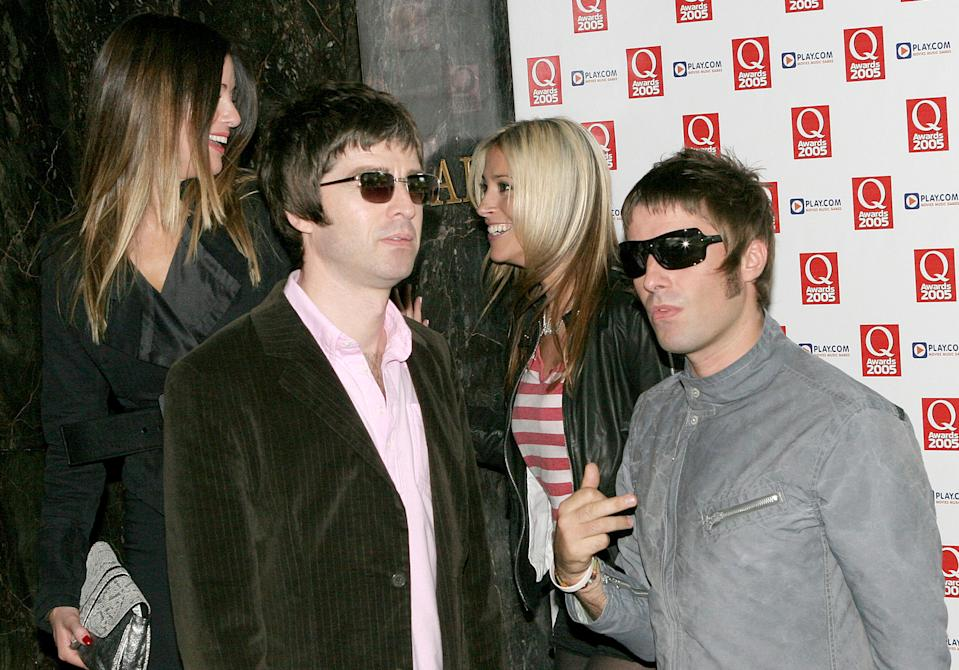 Noel Gallagher and Liam Gallagher during 2005 Q Awards at Grosvenor House Hotel, Park Lane in London, Great Britain. (Photo by Goffredo di Crollalanza/FilmMagic)