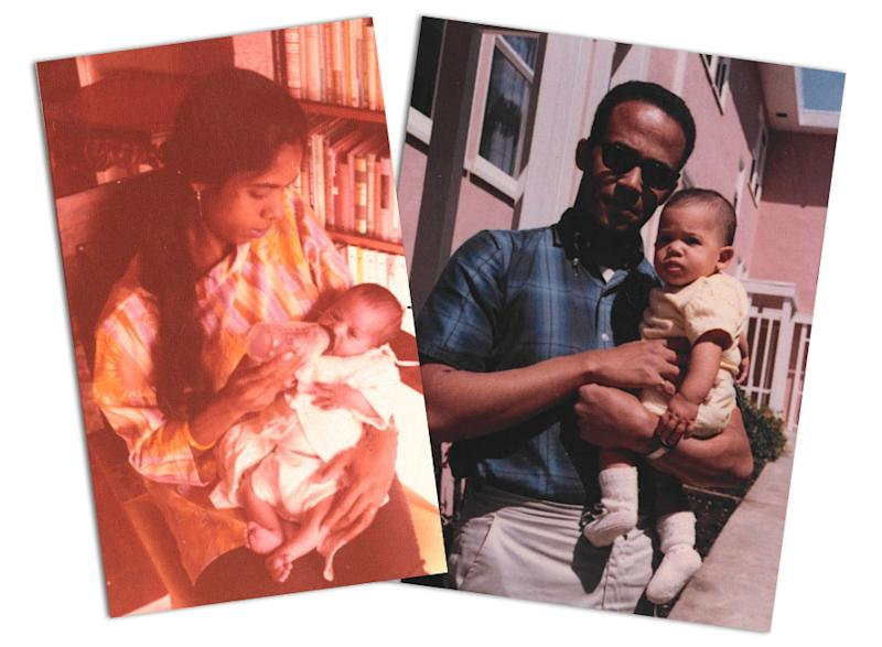Kamala Harris's parents, Shyamala Gopalan and Donald Harris, with her as a baby. (Photo: courtesy of Kamala Harris)