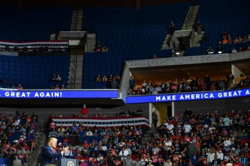 The upper section of the arena was partially empty as US President Donald Trump spoke at a campaign rally in Oklahoma