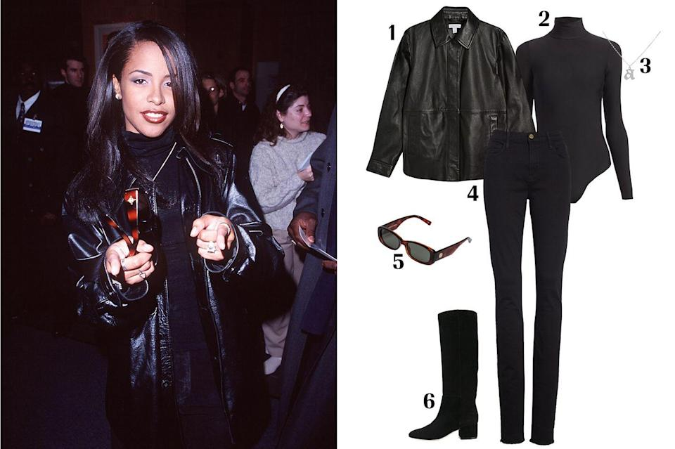 """<p>Almost 20 years since her tragic death, the impact of Aaliyah's style still remains strong as ever. She would sport baggy pants with criss-cross bra tops, oversized windbreakers, bucket hats, tube tops, and tiny sunnies. This sporty yet sexy look has become a favorite among It girls today. Pictured here: One of her more laidback looks that proves a classic leather jacket and black jeans will never go out of style. </p><p><strong> 1. </strong><em><a href=""""https://us.topshop.com/en/tsus/product/leather-jacket-9374624?cmpid=ppc_pla_US_ip&istCompanyId=da794a11-99cb-4206-8e52-61037452aeeb&istFeedId=02701874-f9e8-446a-b209-91c0e33b94a6&istItemId=ippmmqiqm&istBid=t"""" rel=""""nofollow noopener"""" target=""""_blank"""" data-ylk=""""slk:Topshop leather jacket"""" class=""""link rapid-noclick-resp"""">Topshop leather jacket</a></em><em>, $320; </em><strong>2. </strong><em><a href=""""https://www.saksfifthavenue.com/commando-butter-turtleneck-bodysuit/product/0400011702096?site_refer=CSE_GGLPLA:Womens_Clothing:Commando&CSE_CID=G_Saks_PLA_US_All+Products:All+Products&gclid=Cj0KCQjw6PD3BRDPARIsAN8pHuFANbVQBWgolla4eq7PL2Oa9H8DrdW1N3BxnjzAKIZKBvwUn4lyELgaAiBAEALw_wcB&gclsrc=aw.ds"""" rel=""""nofollow noopener"""" target=""""_blank"""" data-ylk=""""slk:Commando bodysuit"""" class=""""link rapid-noclick-resp"""">Commando bodysuit</a>, $108; </em><strong>3. </strong><em><a href=""""https://adinasjewels.com/products/gothic-initial-necklace?variant=32279255547978"""" rel=""""nofollow noopener"""" target=""""_blank"""" data-ylk=""""slk:Adina's jewels necklace"""" class=""""link rapid-noclick-resp"""">Adina's jewels necklace</a>, $88; </em><strong>4. </strong><em><a href=""""https://shop.nordstrom.com/s/frame-forever-karlie-raw-hem-skinny-jeans-tall/5264985?origin=keywordsearch-personalizedsort&breadcrumb=Home%2FAll%20Results%2FWomen%27s%20Clothing&color=film%20noir"""" rel=""""nofollow noopener"""" target=""""_blank"""" data-ylk=""""slk:Frame jeans"""" class=""""link rapid-noclick-resp"""">Frame jeans</a>, $209; </em><strong>5. </strong><em><a href=""""https://lespecs.com/collections/unreal/products"""