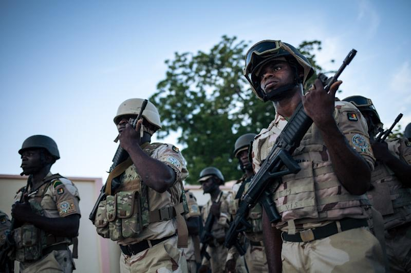 Cameroonian soldiers are pictured in Mora in the country's Far North region on September 28, 2018