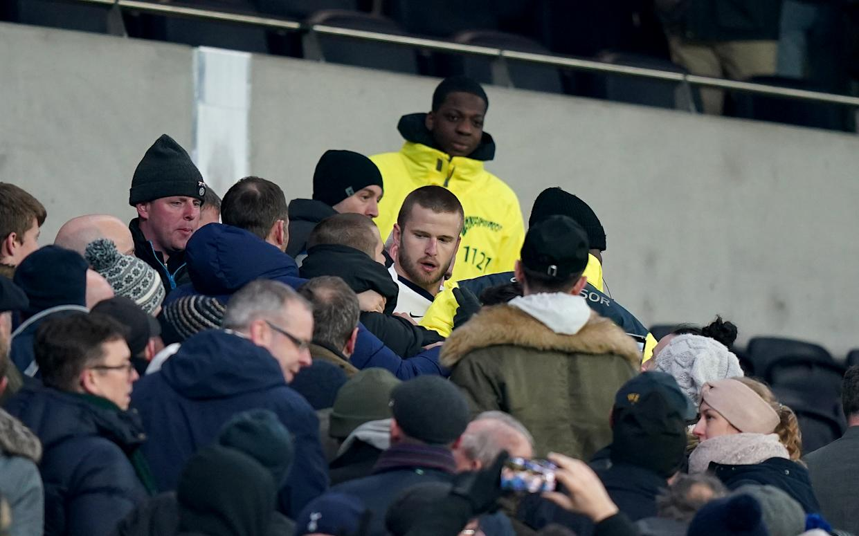 Tottenham Hotspur's Eric Dier got into it with a fan following Wednesday's game. (Photo by Tess Derry/EMPICS/PA Images via Getty Images)