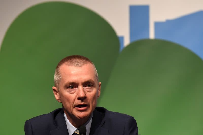 FILE PHOTO: Willie Walsh speaks at the IATA annual general meeting in 2016, when he was CEO of International Airlines Group