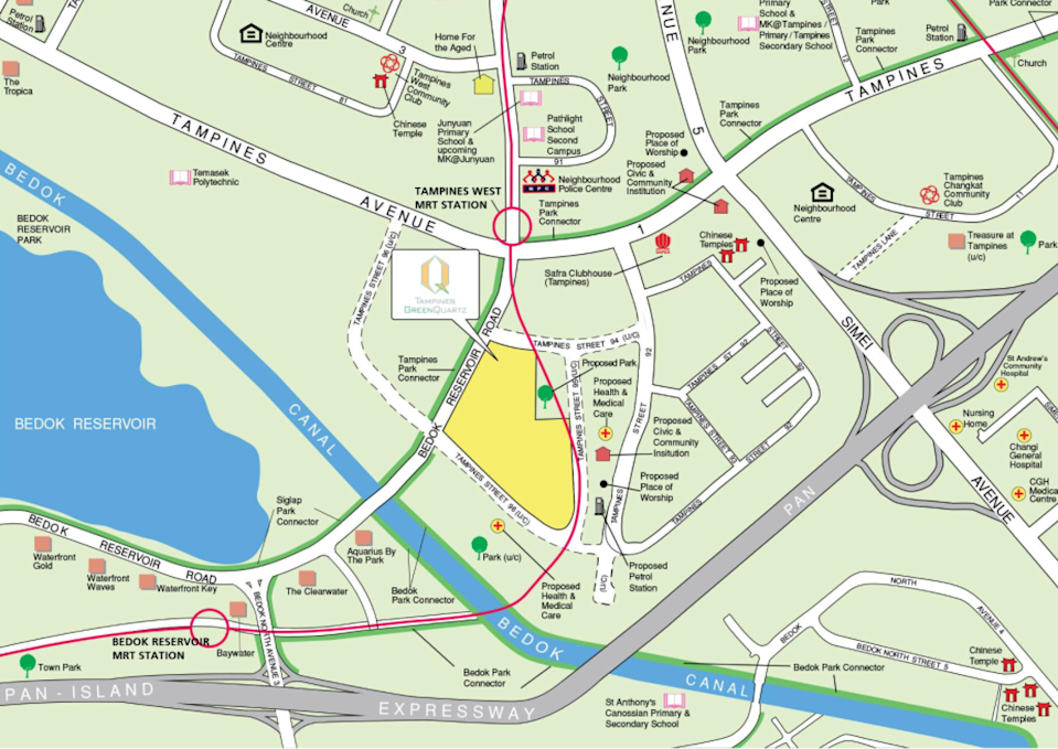 Locality map of the other August 2021 Tampines BTO flats along Tampines Street 96
