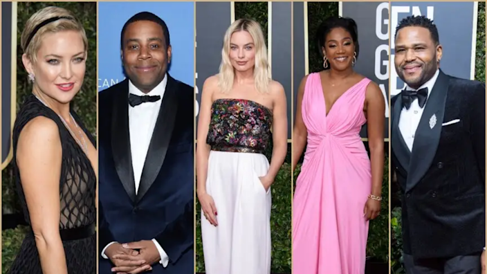 Presenters at the Golden Globes include Kate Hudson, Kenan Thompson, Margot Robbie, Tiffany Haddish and Anthony Anderson.