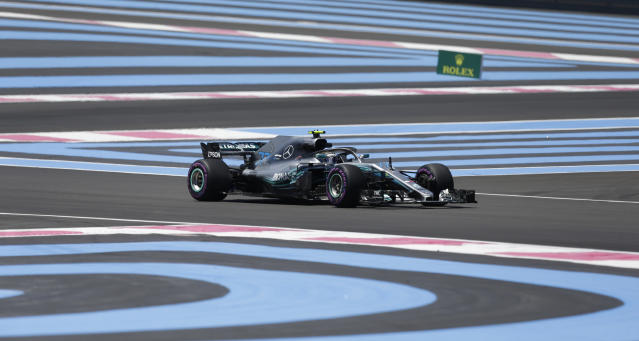 Mercedes driver Valtteri Bottas of Finland steers his car during the first free practice at the Paul Ricard racetrack, in Le Castellet, southern France, Friday, June 22, 2018. The Formula one race will be held on Sunday. (AP Photo/Claude Paris)