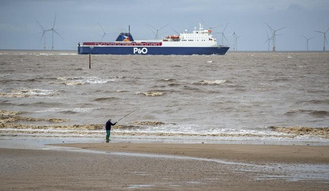 The P&O freight ferry, MS Norbay heads down the River Mersey (Peter Byrne/PA)