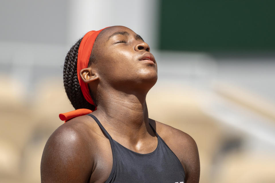 PARIS, FRANCE June 9.  Coco Gauff of the United States reacts during her loss against Barbora Krejcikova of the Czech Republic on Court Philippe-Chatrier during the quarter finals of the singles competition at the 2021 French Open Tennis Tournament at Roland Garros on June 9th 2021 in Paris, France. (Photo by Tim Clayton/Corbis via Getty Images)
