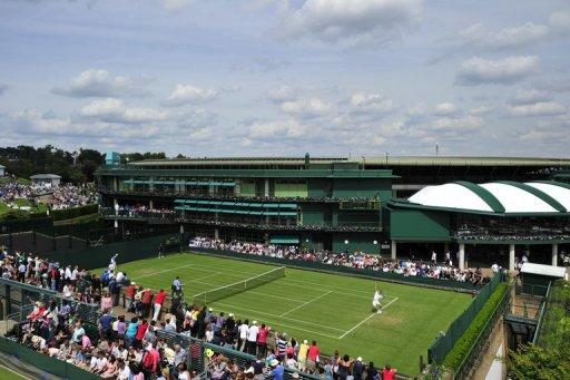 View of Court 19 at the All England Tennis Club in Wimbledon