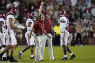 Alabama coach Nick Saban calls to players during a timeout in the first half of an NCAA college football game against Texas A&M on Saturday, Oct. 9, 2021, in College Station, Texas. (AP Photo/Sam Craft)