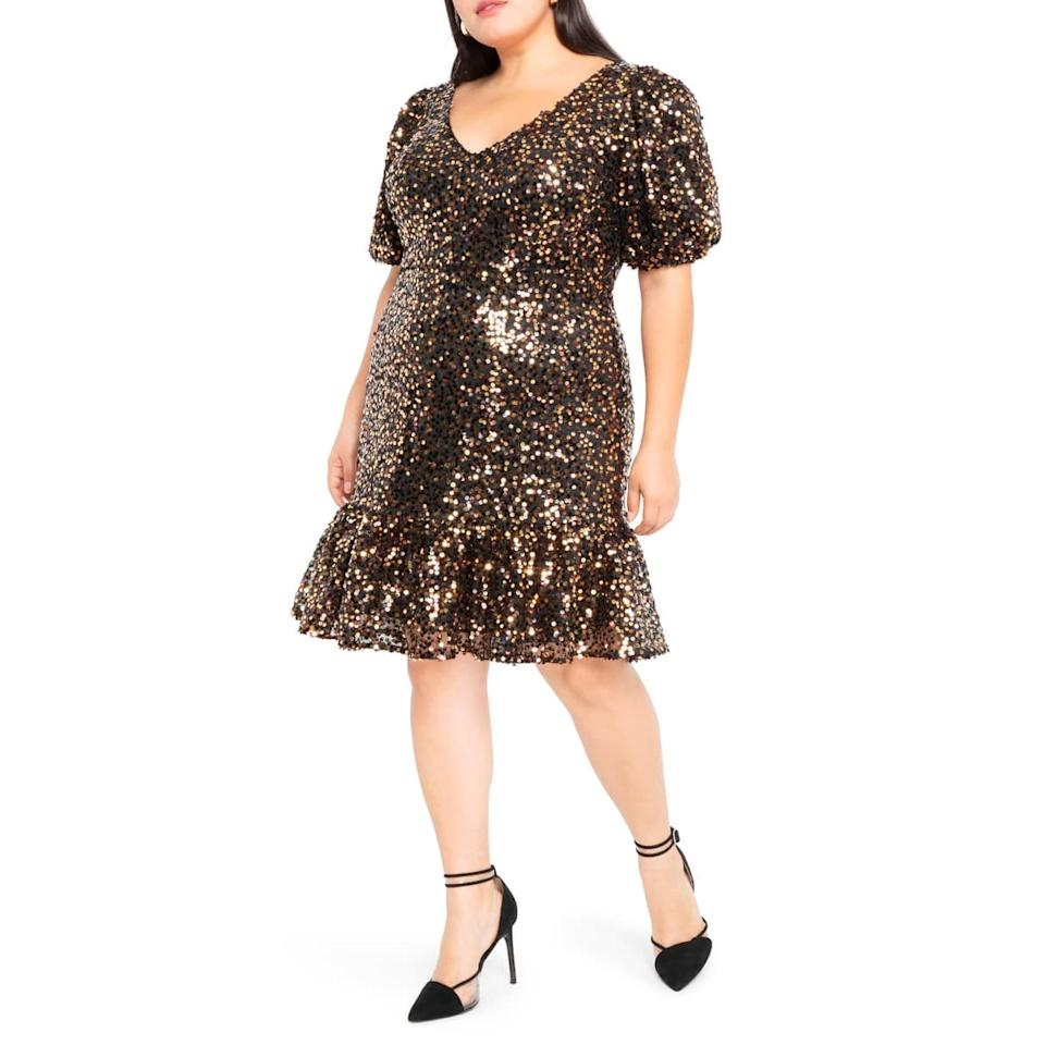 """Wedding receptions at trendy, upscale restaurants call for shorter hemlines, and the puffy sleeves on this sparkly dress make it just right. It's available in sizes 14W to 26W. $140, Nordstrom. <a href=""""https://shop.nordstrom.com/s/eloquii-sequin-puff-sleeve-fit-flare-dress-plus-size/5449956?"""">Get it now!</a>"""