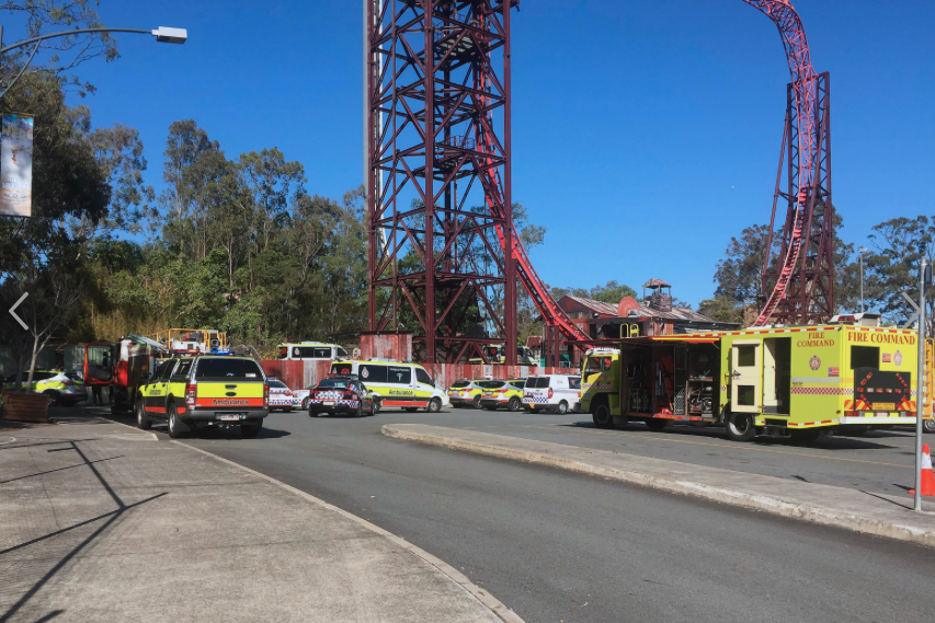A fleet of emergency service vehicles outside the park. Image: AAP