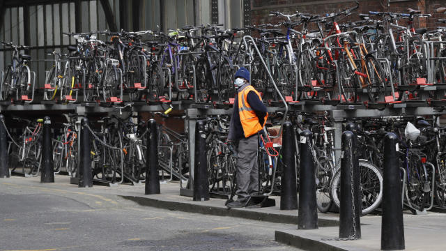 Bicycle racks remain full as commuters stay away, at Waterloo Station in London, Wednesday, May 13, 2020, as the country continues in lockdown to help stop the spread of coronavirus. Some of the coronavirus lockdown measures are being relaxed in England on Wednesday, with those workers who are unable to work from home, such as those in construction and manufacturing, encouraged to return to work. (AP Photo/Kirsty Wigglesworth)