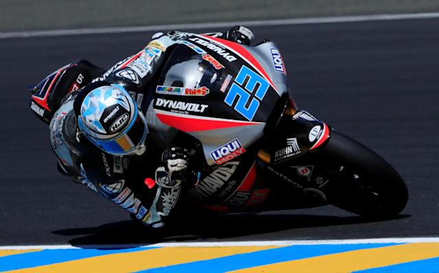Motorcycling - Moto2 - French Grand Prix - Bugatti Circuit, Le Mans, France - May 19, 2018 Dynavolt Intact's Marcel Schrotter during qualifying REUTERS/Gonzalo Fuentes