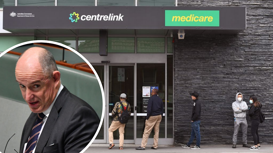 A Centrelink branch with a queue outside; image of MP Stuart Robert