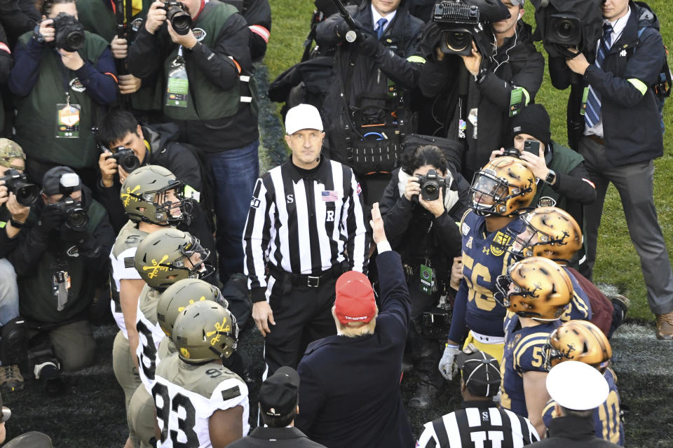 President Donald Trump conducts the coin toss during the Army-Navy game on December 14, 2019 at Lincoln Financial Field in Philadelphia PA.(Photo by Andy Lewis/Icon Sportswire via Getty Images)