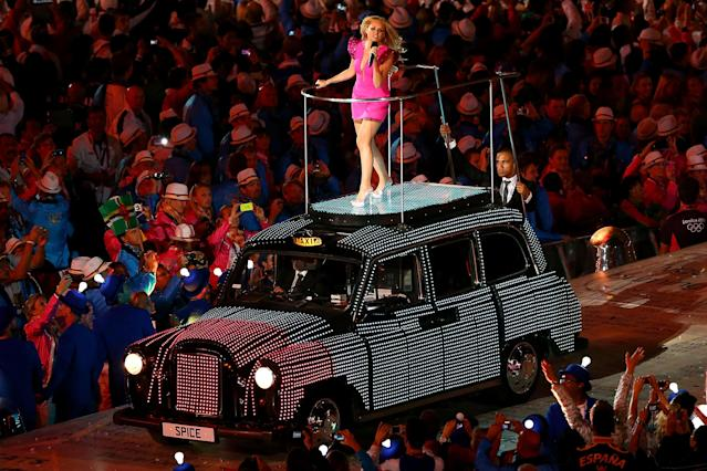 LONDON, ENGLAND - AUGUST 12: Emma Bunton of Spice Girls performs during the Closing Ceremony on Day 16 of the London 2012 Olympic Games at Olympic Stadium on August 12, 2012 in London, England. (Photo by Michael Steele/Getty Images)