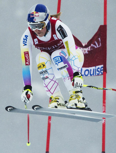 Lindsey Vonn, of the United States, competes at the women's World Cup downhill ski race in Lake Louise, Alberta, Friday, Nov. 30, 2012. (AP Photo/The Canadian Press, Jonathan Hayward)