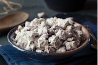 """<p>Whether you call them muddy buddies, puppy chow, monkey munch or another name, these chocolatey, peanut buttery, powder-sugar-coated treats are a <a href=""""https://www.thedailymeal.com/cook/nostalgic-childhood-desserts?referrer=yahoo&category=beauty_food&include_utm=1&utm_medium=referral&utm_source=yahoo&utm_campaign=feed"""" rel=""""nofollow noopener"""" target=""""_blank"""" data-ylk=""""slk:delightful childhood dessert you forgot about"""" class=""""link rapid-noclick-resp"""">delightful childhood dessert you forgot about</a> — unless you're at a potluck in the Midwest, that is. If you're allergic to peanuts, feel free to swap for the nut (or nut-free) butter of your choice.</p> <p><a href=""""https://www.thedailymeal.com/recipes/homemade-muddy-buddies-recipe?referrer=yahoo&category=beauty_food&include_utm=1&utm_medium=referral&utm_source=yahoo&utm_campaign=feed"""" rel=""""nofollow noopener"""" target=""""_blank"""" data-ylk=""""slk:For the Homemade Muddy Buddies recipe, click here."""" class=""""link rapid-noclick-resp"""">For the Homemade Muddy Buddies recipe, click here.</a></p>"""
