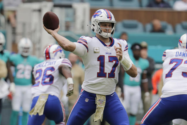 Buffalo Bills quarterback Josh Allen (17) looks to pass, during the first half at an NFL football game against the Miami Dolphins, Sunday, Nov. 17, 2019, in Miami Gardens, Fla. (AP Photo/Lynne Sladky)