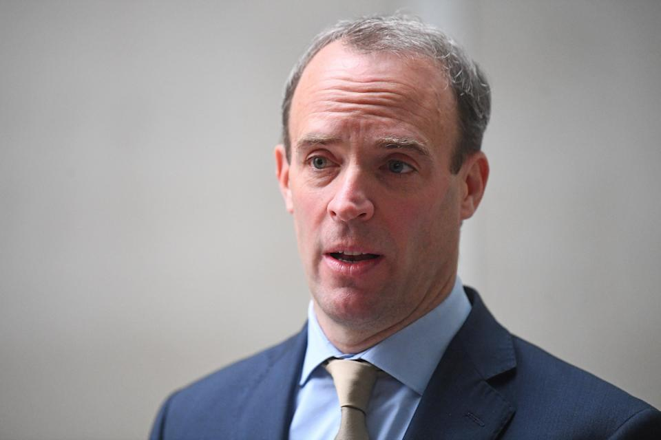 Foreign Secretary Dominic Raab speaks to the media outside BBC Broadcasting House in central London after his appearance on the BBC1 current affairs programme, The Andrew Marr Show. (PA Archive)