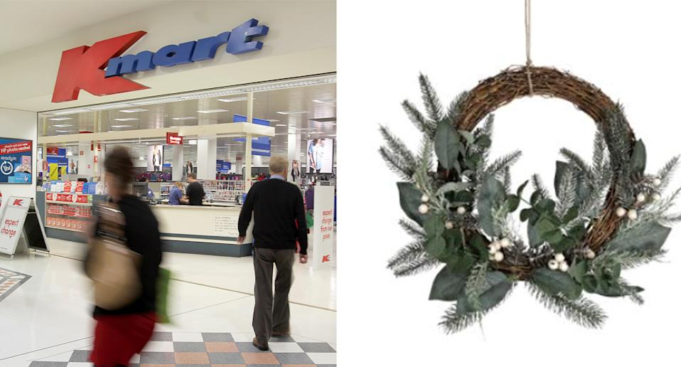 Kmart store pictured and the wreath that is being recalled.