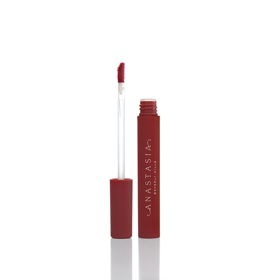 "<p><product href=""https://www.anastasiabeverlyhills.com/lip-stain/lip-stain.html"" target=""_blank"" class=""ga-track"" data-ga-category=""Related"" data-ga-label=""https://www.anastasiabeverlyhills.com/lip-stain/lip-stain.html"" data-ga-action=""In-Line Links"">Anastasia Beverly Hills Lip Stain in Black Cherry</product> ($18)</p>"