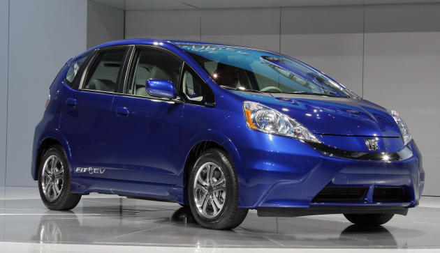 The new all-electric 2013 Honda Fit EV at the Los Angeles Auto Show. (AP Photo/Reed Saxon, File)