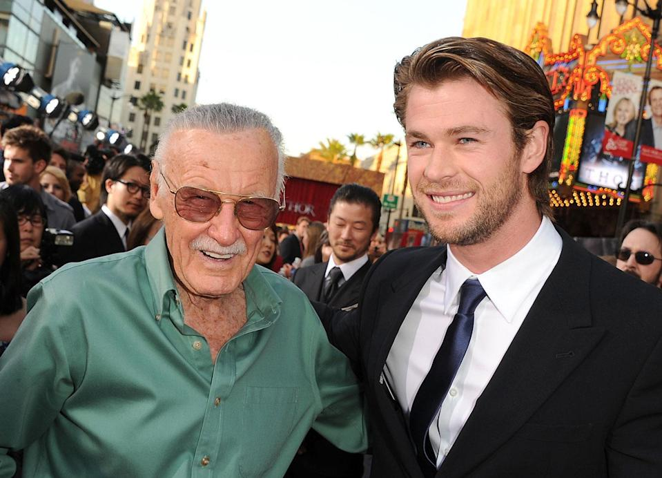Stan Lee (L) and actor Chris Hemsworth arrive at the premiere of Paramount Pictures' and Marvel's 'Thor' held at the El Capitan Theatre on May 2, 2011 in Los Angeles, California. (Photo by Kevin Winter/Getty Images)