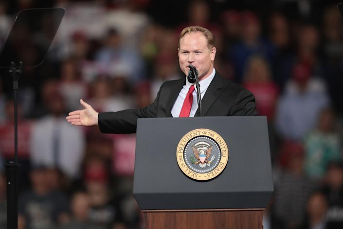 Steve Watkins speaks at a rally with President Donald Trump at the Kansas Expocenter on October 6, 2018 in Topeka, Kansas. / Credit: Scott Olson / Getty Images