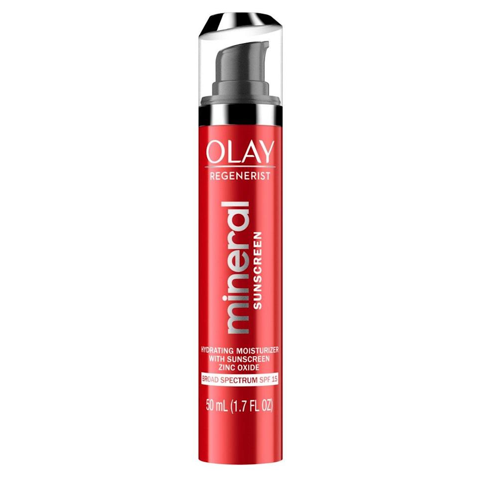 """Olay has <a href=""""https://www.allure.com/story/olay-regenerist-micro-sculpting-cream-how-many-sold-every-minute?mbid=synd_yahoo_rss"""" rel=""""nofollow noopener"""" target=""""_blank"""" data-ylk=""""slk:mastered hydration"""" class=""""link rapid-noclick-resp"""">mastered hydration</a> but that's not stopping the household name from turning out even more smoothing Regenerist products — the latest being the Mineral Sunscreen Hydrating Moisturizer SPF 30. Powered by zinc oxide, the sheer, fragrance-free formula also packs in moisture-boosting glycerin and ample niacinamide (also known as <a href=""""https://www.allure.com/story/best-vitamins-for-skin?mbid=synd_yahoo_rss"""" rel=""""nofollow noopener"""" target=""""_blank"""" data-ylk=""""slk:vitamin B3"""" class=""""link rapid-noclick-resp"""">vitamin B3</a>), so your skin stays baby-soft with every reapplication throughout the day."""