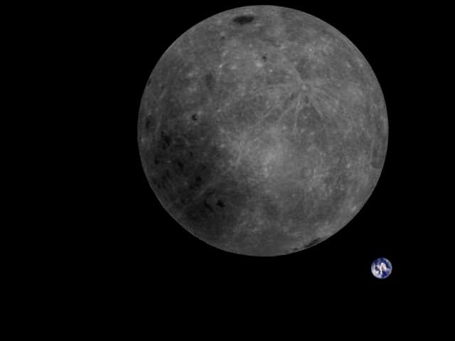Earth photobombs the far side of the moon in this color-corrected photo taken by China's Longjiang-2 microsatellite on Feb. 4, 2019, at 10:20 a.m. EST (1520 GMT). <cite>MingChuan Wei/Harbin Institute of Technology/CAMRAS/DK5LA</cite>