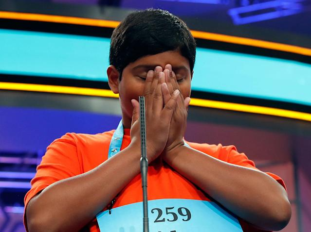 <p>Alex Iyer, 14, from San Antonio, Texas ponders spelling his word during the 90th Scripps National Spelling Bee, Thursday, June 1, 2017, in Oxon Hill, Md. (AP Photo/Alex Brandon) </p>