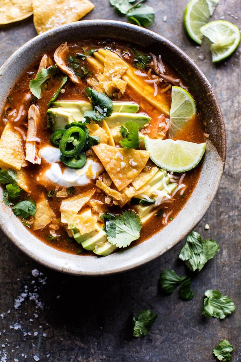 """<strong>Get the<a href=""""https://www.halfbakedharvest.com/crockpot-spicy-chicken-tortilla-soup/"""" target=""""_blank"""">Crockpot Spicy Chicken Tortilla Souprecipe</a> from Half Baked Harvest</strong>"""