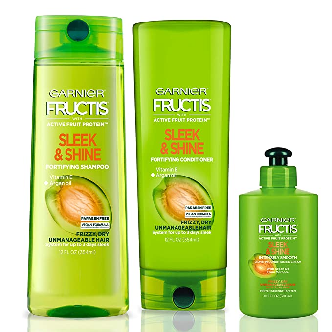 """<h3>Garnier Fructis Sleek & Shine Shampoo, Conditioner & Leave-In Conditioning Cream Kit</h3><br><br>Yes, you can find this beloved drugstore shampoo and conditioner on Amazon Prime! Sleek, shiny hair, here we come.<br><br><strong>Garnier</strong> Sleek & Shine Shampoo, Condition + Leave-In Kit, $, available at <a href=""""https://amzn.to/3nu88IX"""" rel=""""nofollow noopener"""" target=""""_blank"""" data-ylk=""""slk:Amazon"""" class=""""link rapid-noclick-resp"""">Amazon</a>"""